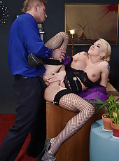 Blonde in stockings Leya Falcon being pounded in doggy style on the chair