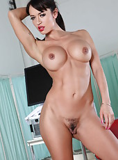 Exquisite babe Aletta Ocean showing her sexy red lingerie and big tits