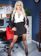 Appealing office babe Alexis Ford showing her big tits and her wet twat