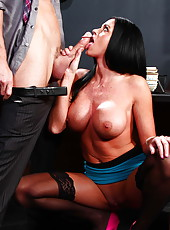 Beautiful and ravishing MILF Aryana Augustine sucking a hard and juicy cock