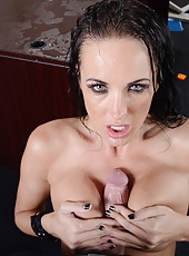 Wet and sexy MILF Alektra Blue showing her cock riding skills and style