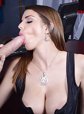 Ravishing babe Brooklyn Chase pleasing her mans big cock with her mouth