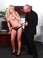 Snazzy MILF Jessica Nyx doing a tit job and fucking very rough with her man