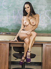 Arresting brunette MILF Ava Addams with her divine looks posing in classroom