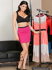 Smoking sexy and hot brunette MILF Romi Rain showing her flawless body