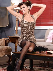 Sexy vintage MILF Veronica Avluv with her bit tits and sexy lingerie posing