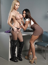 Amazing MILFs Kirsten Price and Nikki Benz playing with a strap-on