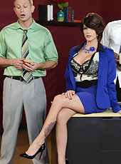 Naughty MILF Joslyn James doing a blowjob and a very nice foot job