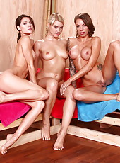 Lesbian threesome in the sauna by Anikka Albrite, Jenni Lee and Juelz Ventura
