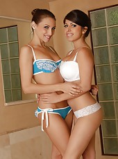 Hot lesbians Celeste Star and Layla Rose show their holes in the bathroom