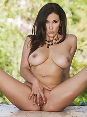 Outdoor porn scene with a beautiful brunette milf named Jelena Jensen