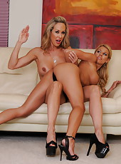 Wild lesbian love betweet sexy tanned ladies named Brandi Love and Nicole Graves
