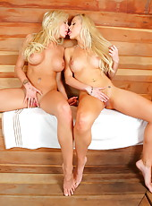 Blonde bombshells Eden Adams and Lux Kassidy know how to get pleasure in the sauna