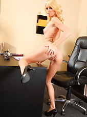 Tattooed blonde business lady Monique Alexander opens the secrets of her amazing body