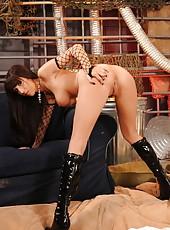 Seductively hot brunette April O