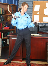 Brunette milf Lexi Stone takes off her policelady uniform and shows big tits