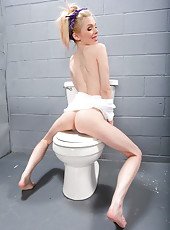 Playful and horny milf prisoner Jayme Langford willingly takes off her uniform