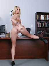 Gorgeous blonde babe Monique Alexander takes off her clothes and poses naked