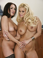 Two busty milfs Shyla Stylez and Zoe Britton are having an wild lesbian fuck
