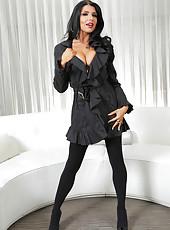 Happy brunette Romi Rain loves posing in lingerie and jilling wet sissy