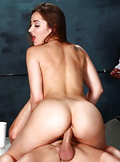 Horny milf Dani Daniels breaking law and swallowing a big cock to escape