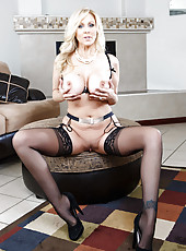 Obedient stepmom Julia Ann fingering trimmed sissy and showing boobies