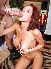 Classy milf Veronica Avluv taking off red dress and enjoying a yummy rod