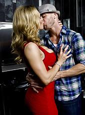 Elegant blonde Tanya Tate banging hard with her boyfriend after dinner