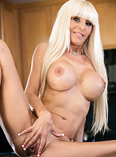 Playful milf Kasey Storm working with tight vagina right at the kitchen