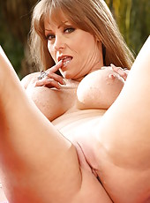 Nasty Darla Crane masturbating outside and making a deep blowjob for her friend