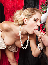 Cocky blonde Cherie Deville fucking with a handsome doll and having fun