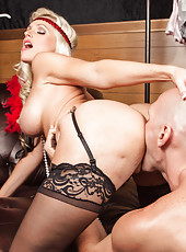 Pretty blonde Alena Croft enjoying a yummy pecker and getting pounded