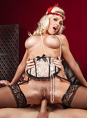 Pretty blonde Alena Croft enjoying a yummy pecker and getting pounded