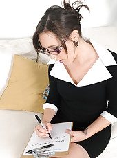 Cute 30 year old steno Sinn Sage pauses her work to spread her pussy