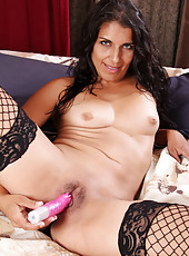 Gorgeous 41 year old Safron LeBlanc probes her pussy with a toy