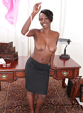 30 year old Sayanna Monroe strips off her secretary outfit for you
