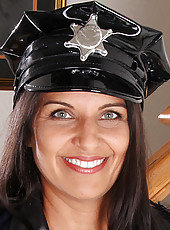 Horny 41 year old Saffron LeBlanc makes a fantastic police woman