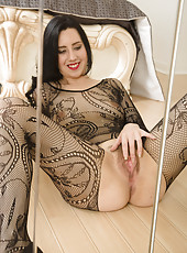 Adorable 30 year old Honesty in a body stocking preads at the mirror