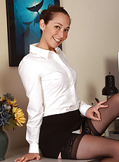 34 year old sexy executive Fiona Filmore opens her legs on the desk