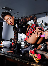 Bonnie Rotten and Skin Diamond are hanging out at the bar when they hear a punk band start playing. Well Bonnie and Skin think that they're more punk than the band and they set out to prove it by fucking each other with a double ended dildo right on
