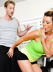 Raquel is using her tried and tested work out video when Ryan, her son's friend knocks at the door. She tells him to come in only to find that his friend isn't at the house. He tells her to stop working out because what she's doing is embar