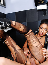 Skin Diamond has been eyeing the really uptight guy at the bar. So when the guy's wife heads to the ladies room, Skin invites him to meet her in the other restroom. Skin is a real dirty girl and wants this guy to fuck her like the dirty girl she is i