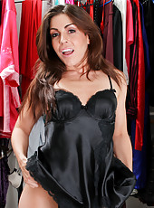 Latina milf makes me hard as she models in super sexy black lingerie