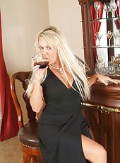 Classy blonde Anilos spreads her legs exposing her sheer panties