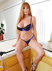 Naughty housewife teases us in her sexy underwear