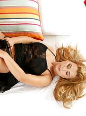 Sensual long haired Anilos Dorothy Black flaunts her ten star body in black lingerie