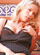 Anilos blonde cougar secretary looks tasty in her pin striped business suit
