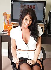 Hot milf secretary flaunts her bra and panties under her business attire