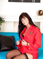 Flirty milf in uniform looks smoking hot in her lingerie