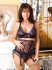 Voluptuous mom wears super sexy sheer lingerie